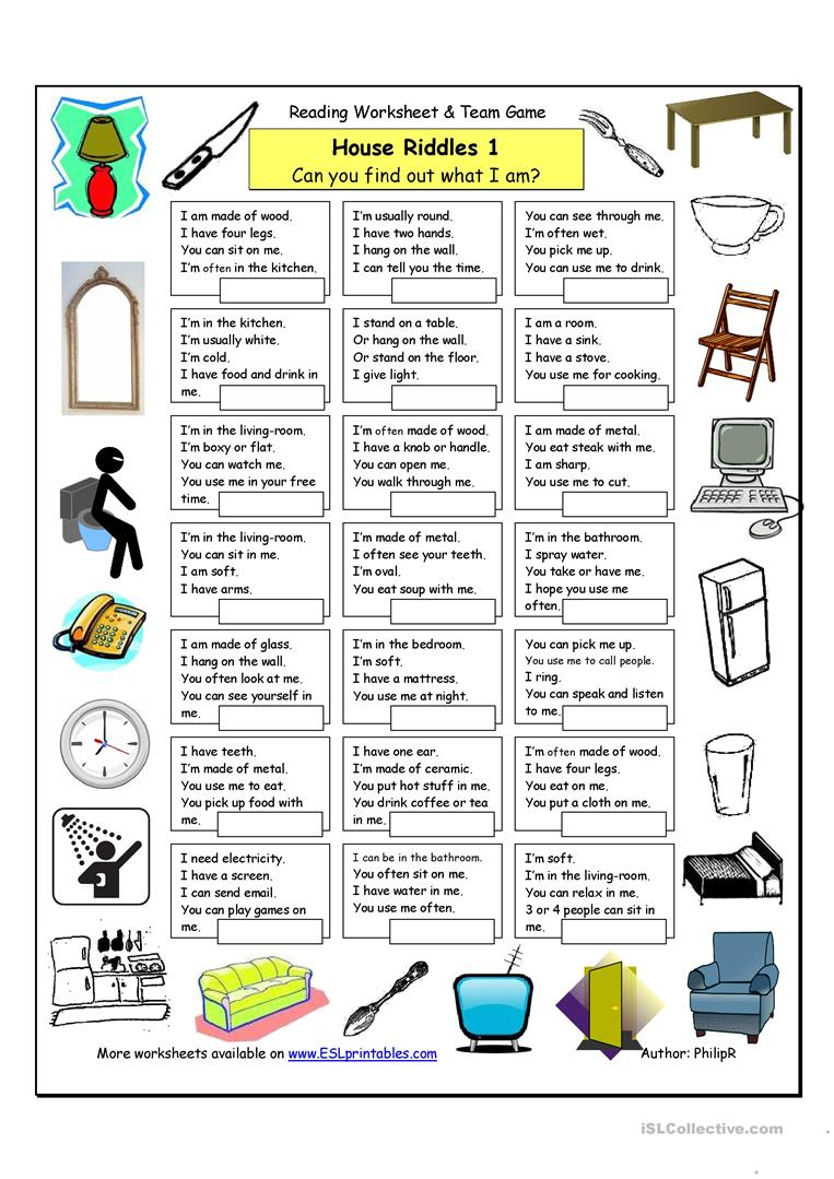 13 Free Esl Things In The House Worksheets
