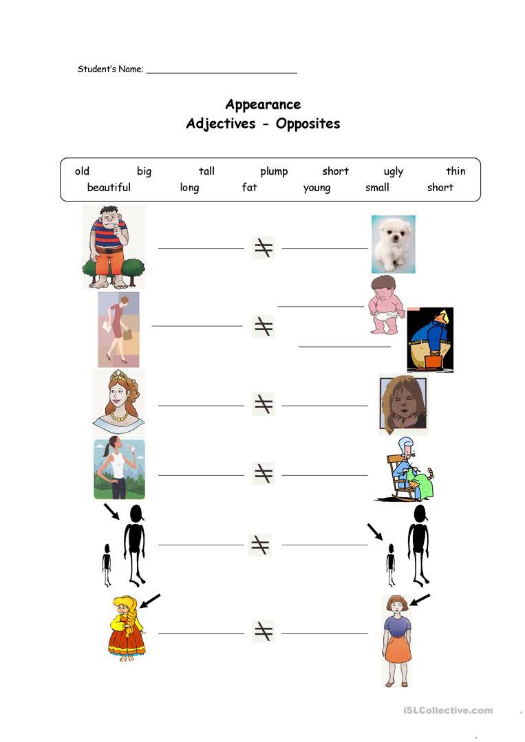148 Free Esl Adjectives  Opposites Worksheets