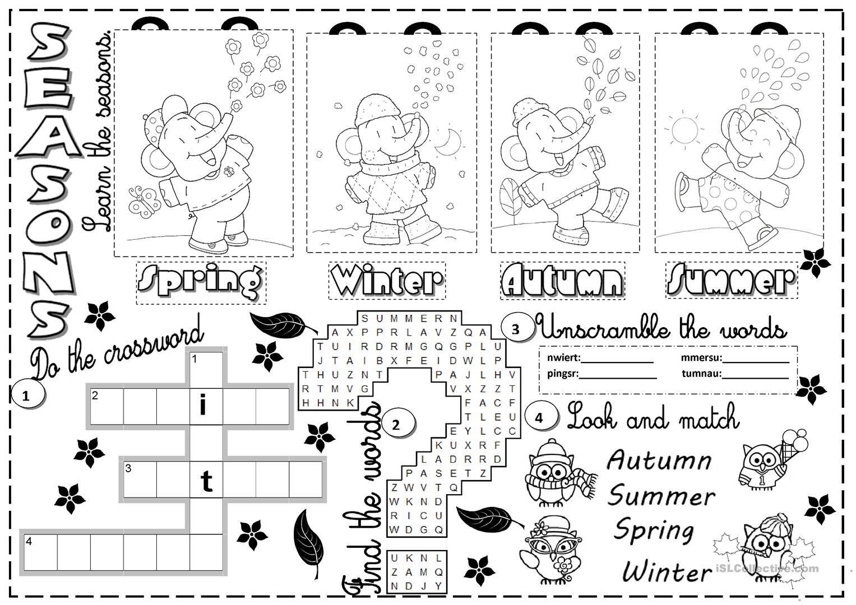 197 Free Esl Seasons Worksheets
