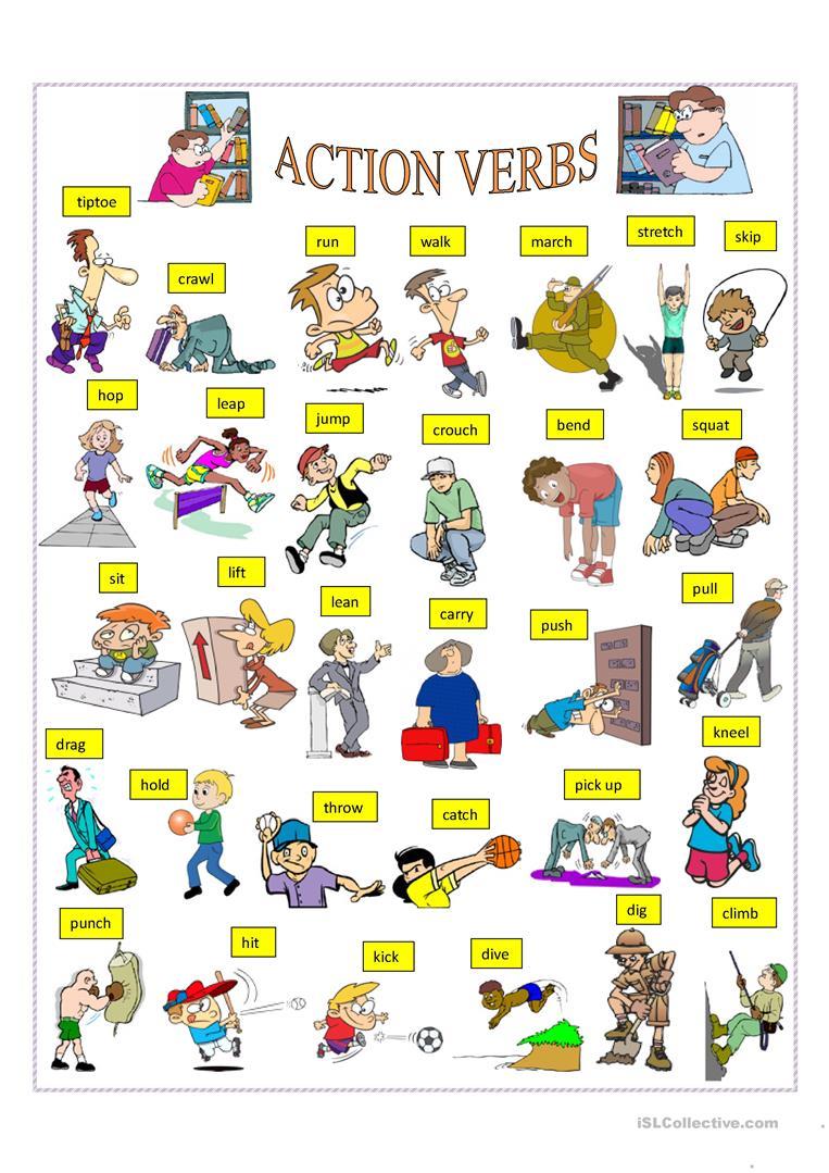 198 Free Esl Verbs  Action Verbs Worksheets