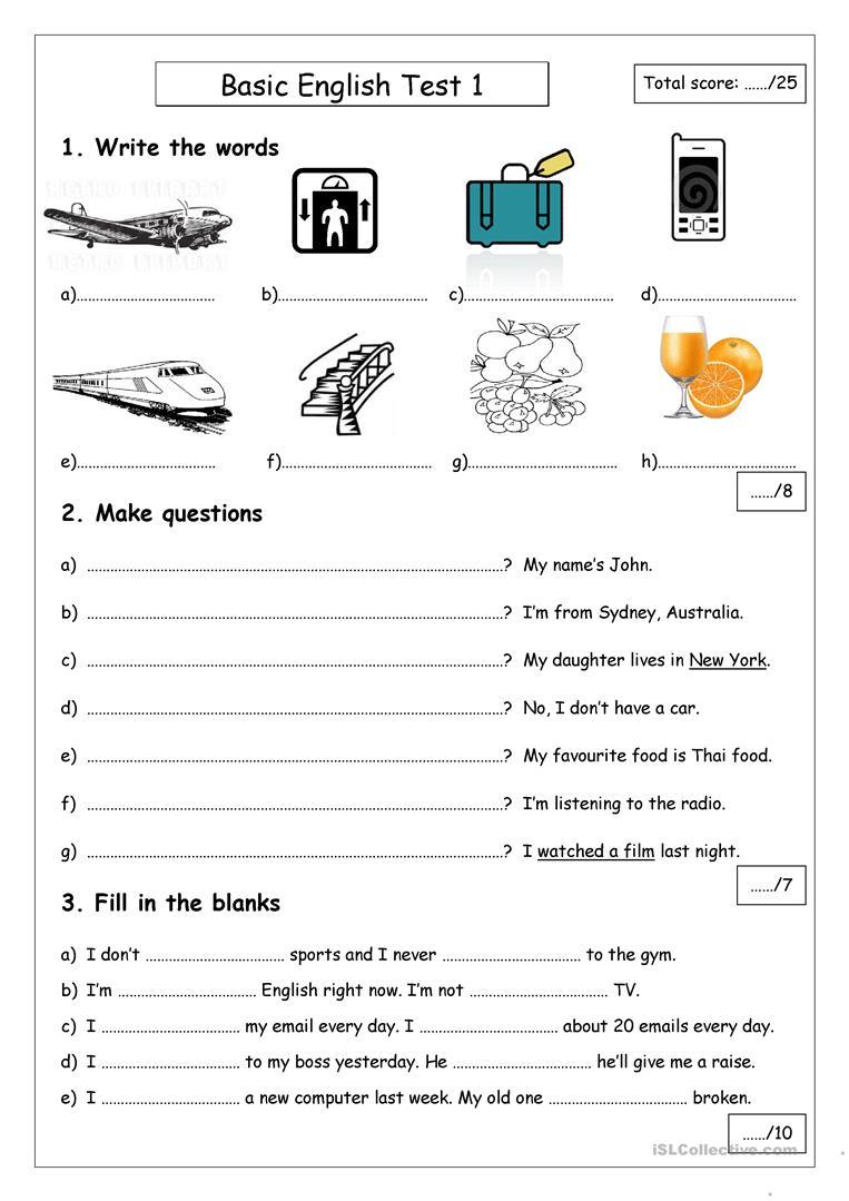 20 Free Esl Basic English Worksheets