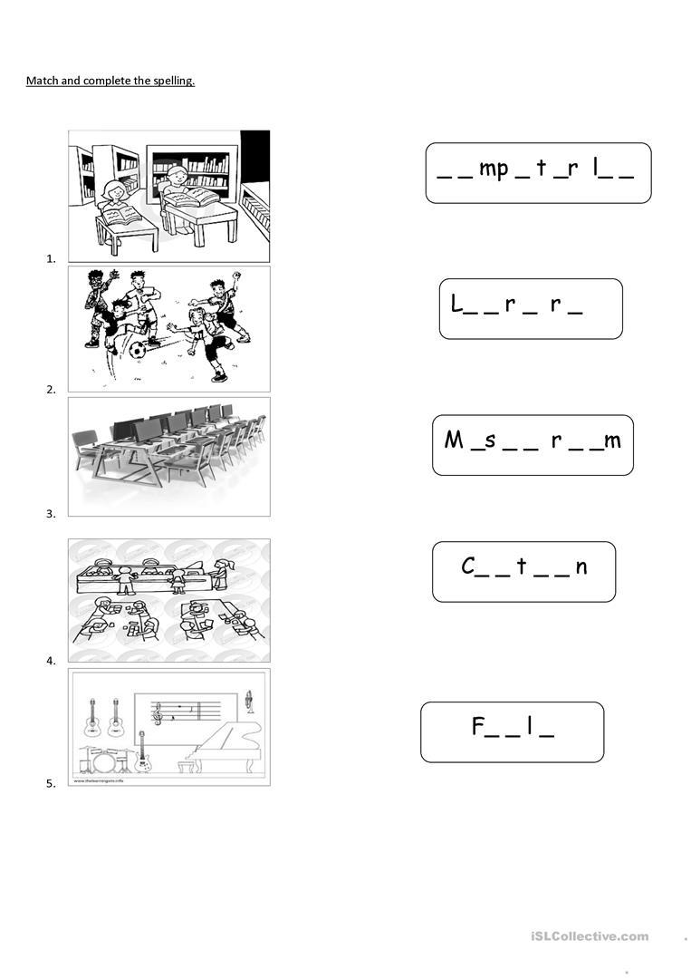 Places In School Worksheets For Kindergarten