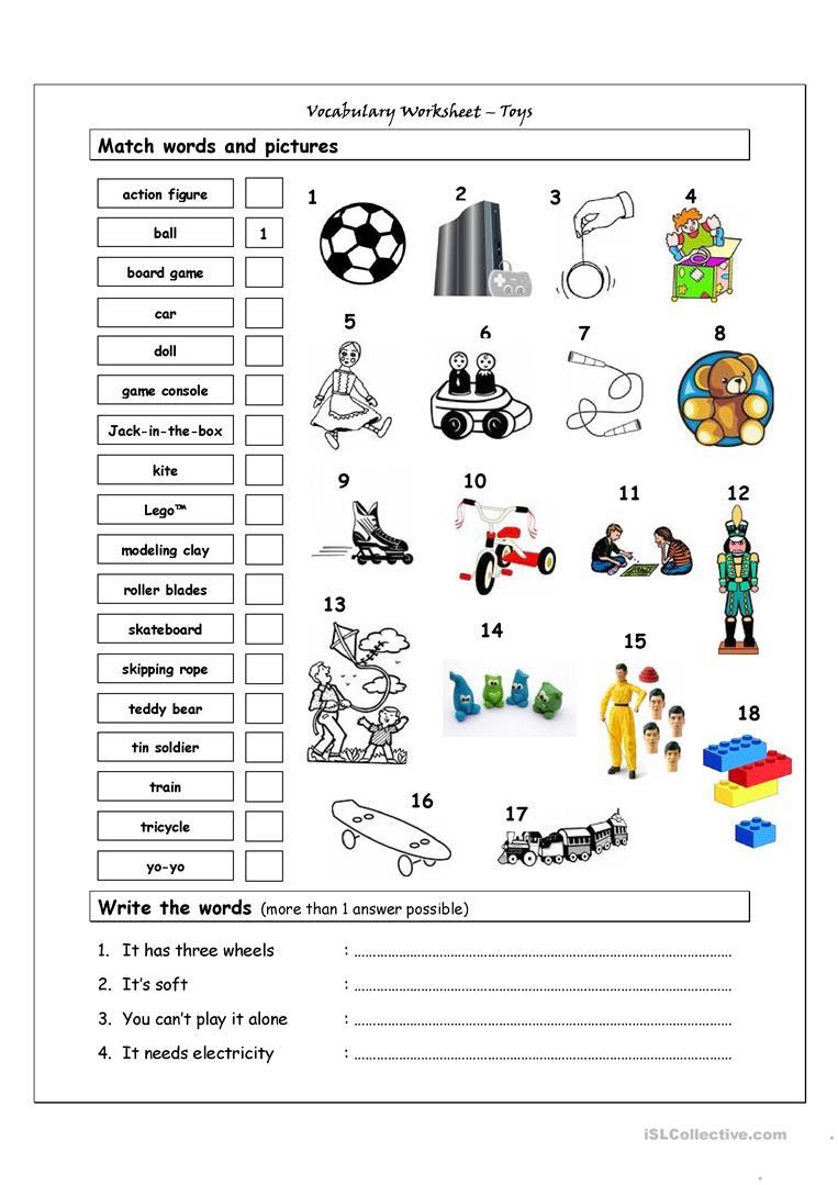 233 Free Esl Toys Worksheets