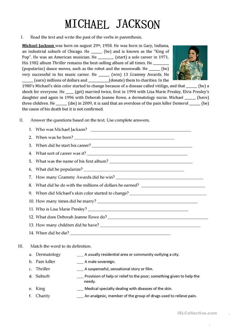 26 Free Esl Michael Jackson Worksheets