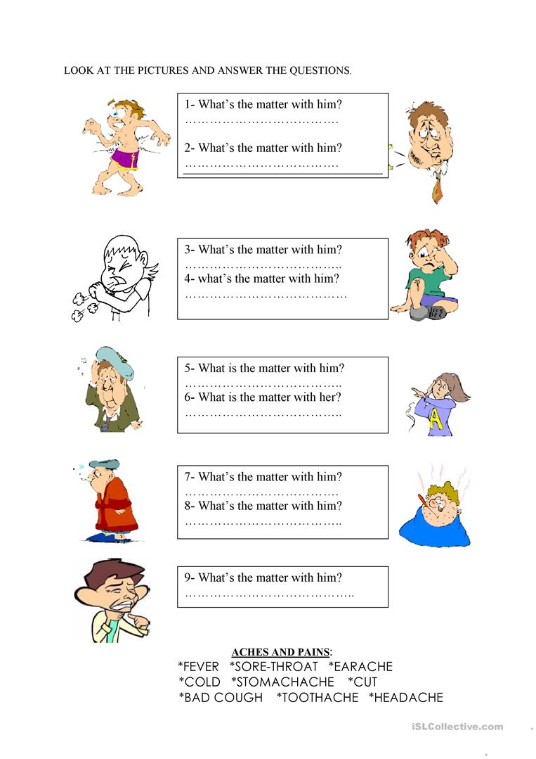 26 Free Esl What's The Matter Worksheets