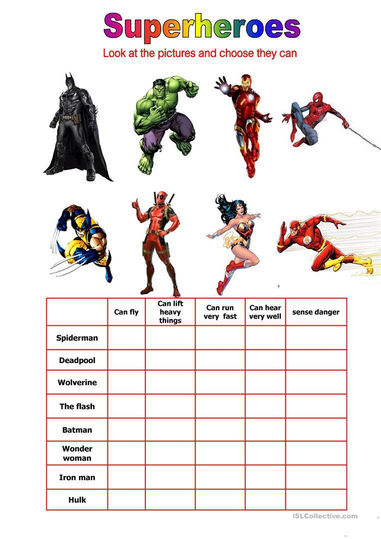 28 Free Esl Superheroes Worksheets