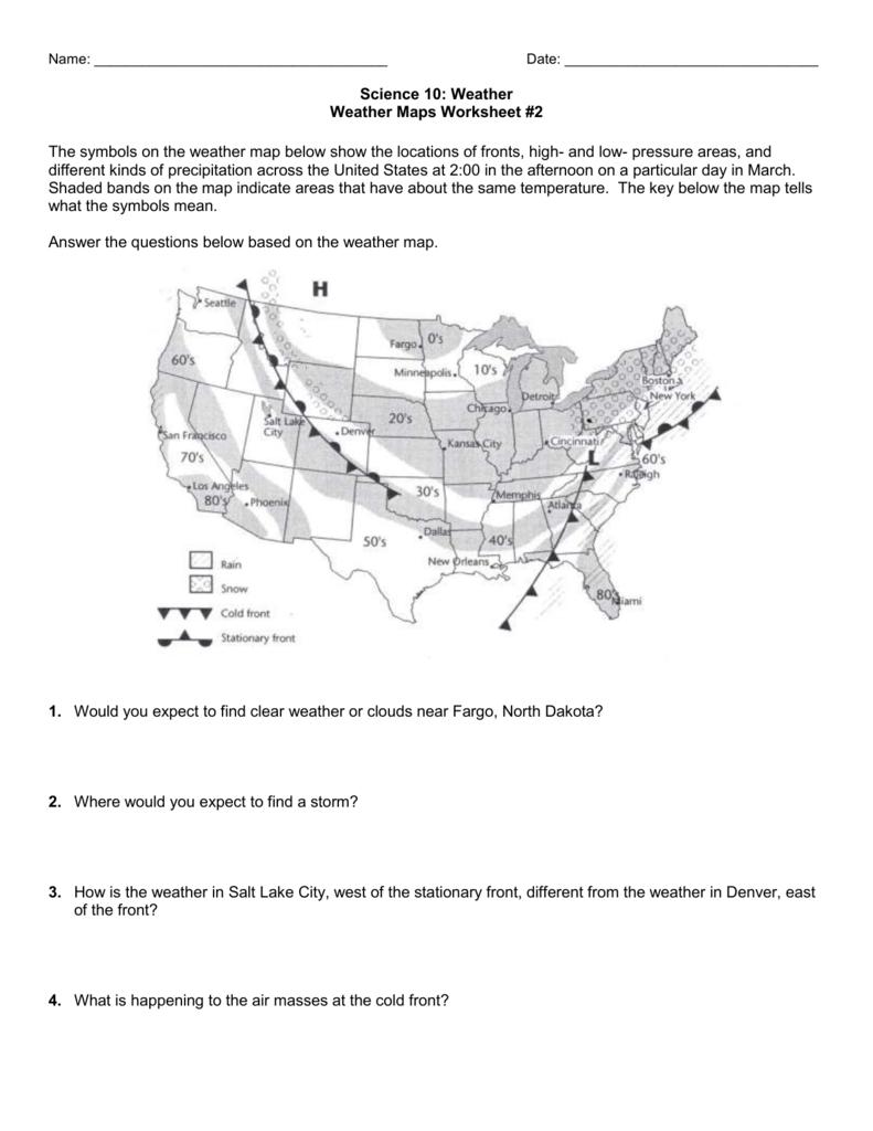 reading a weather map worksheets. Black Bedroom Furniture Sets. Home Design Ideas