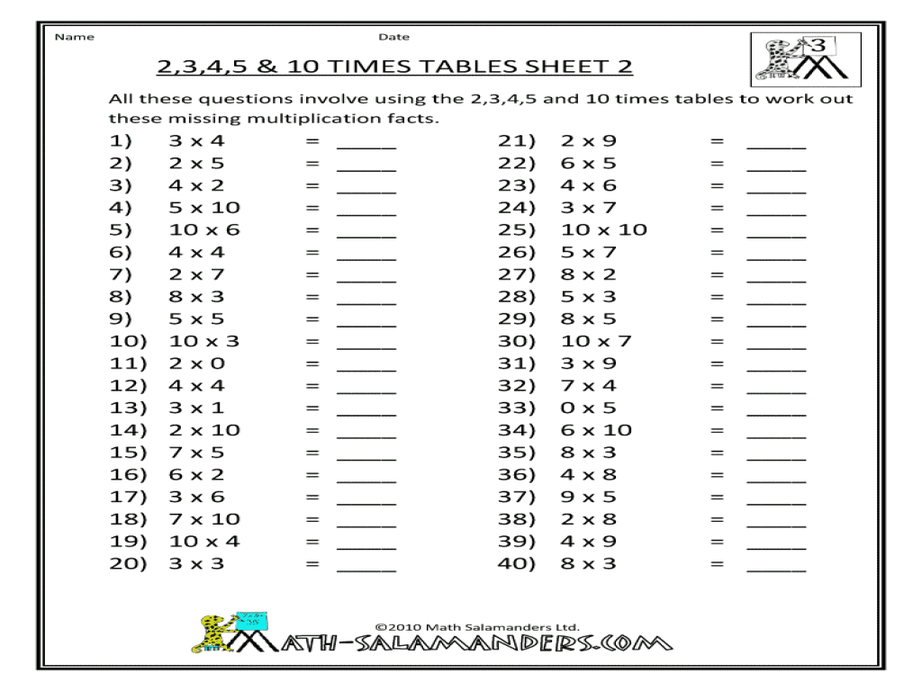 2 3 4 5 10 Times Tables Worksheets Worksheets For All