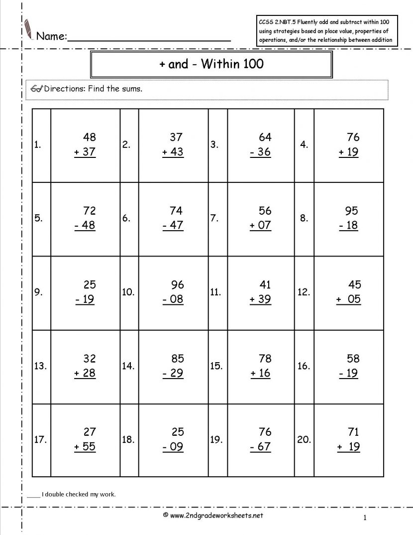 2nd Grade Math Worksheets Common Core Worksheets For All