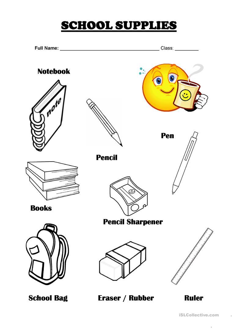 35 Free Esl School Supplies Worksheets
