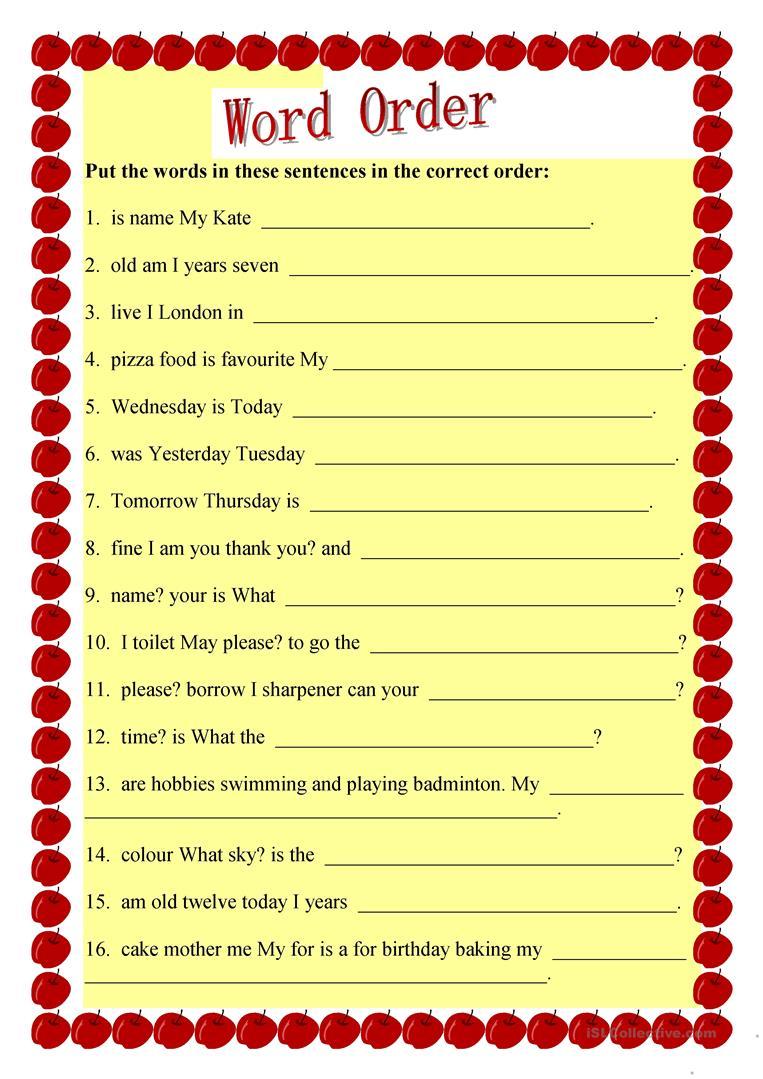 36 Free Esl Sentence Structure Worksheets