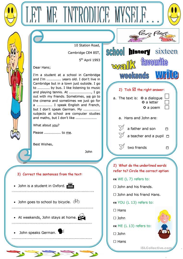 38 Free Esl Myself Worksheets