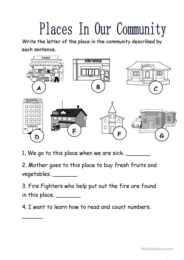 39 Free Esl Community Worksheets