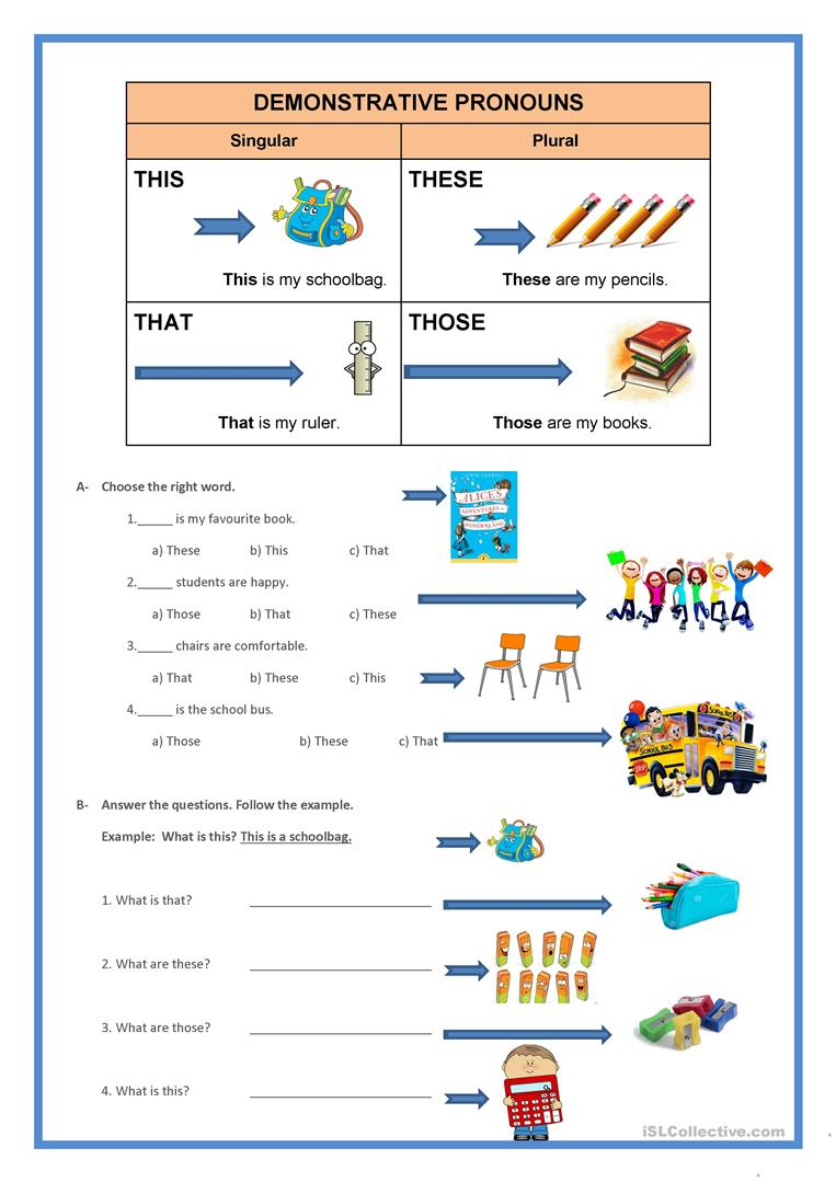 39 Free Esl Demonstrative Pronouns Worksheets