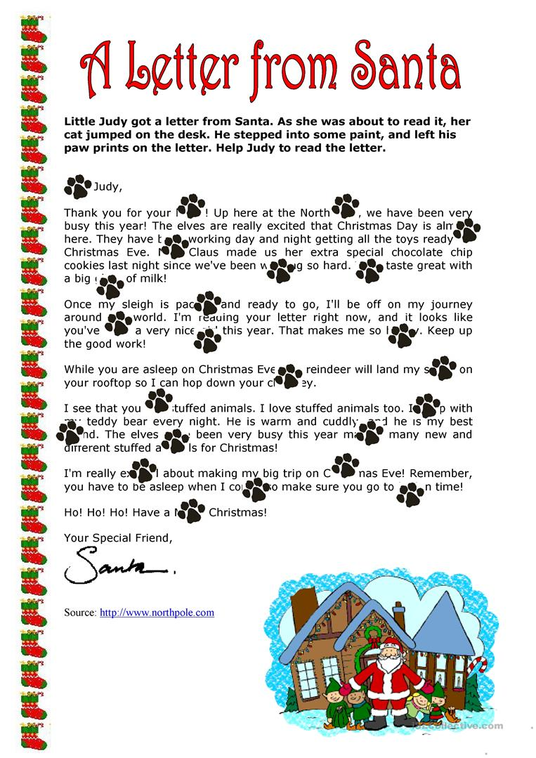 52 Free Esl Santa Claus Worksheets