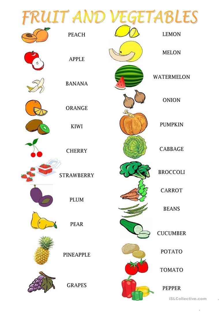 53 Free Esl Fruit And Vegetables Worksheets