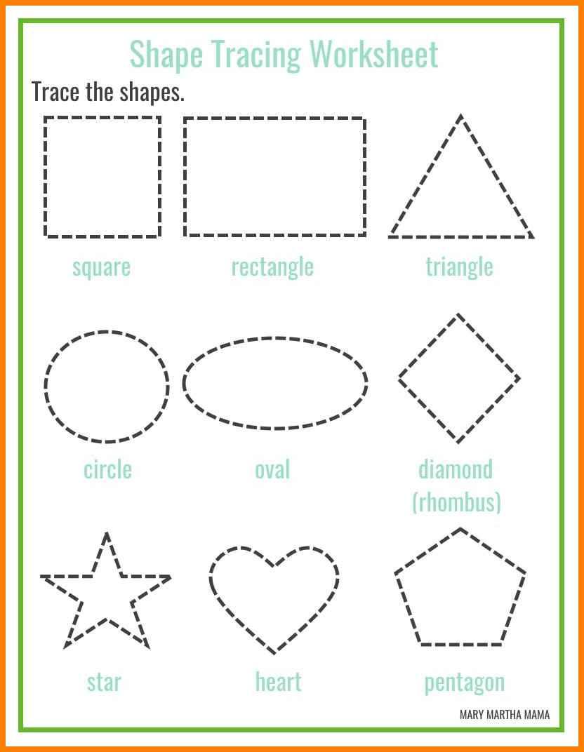 5 Tracing Shapes Worksheets