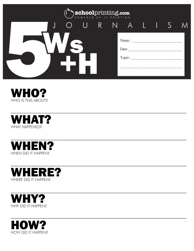 5 W S Worksheet