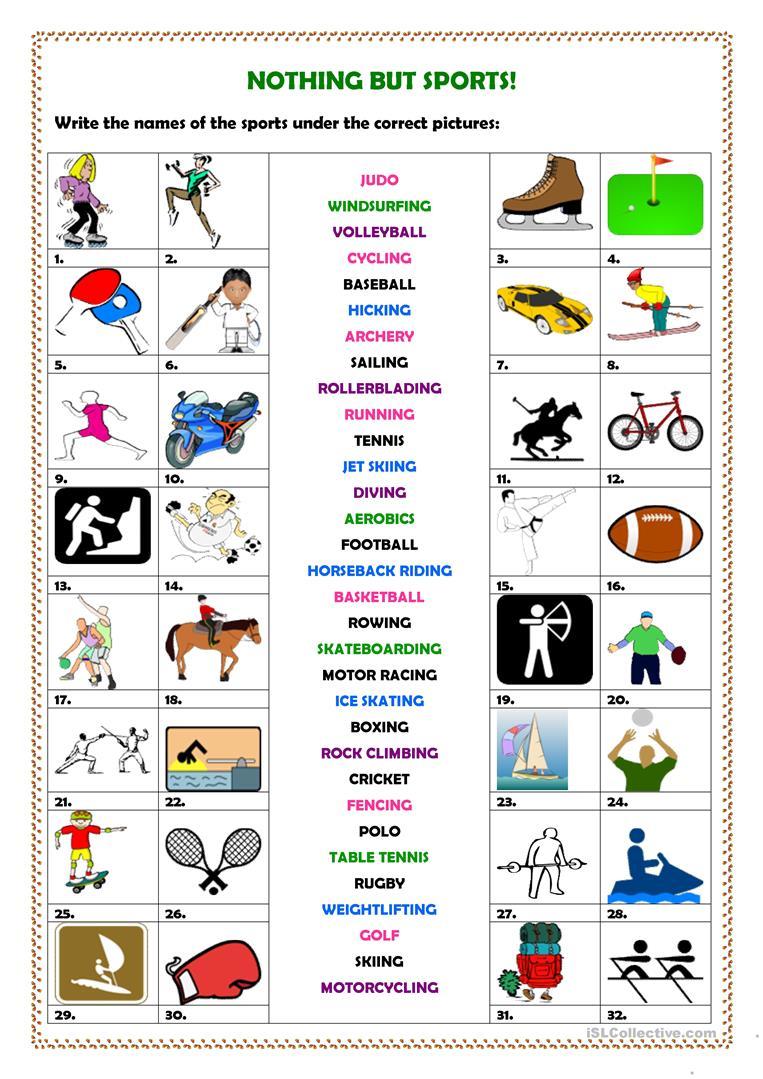 639 Free Esl Sports Worksheets