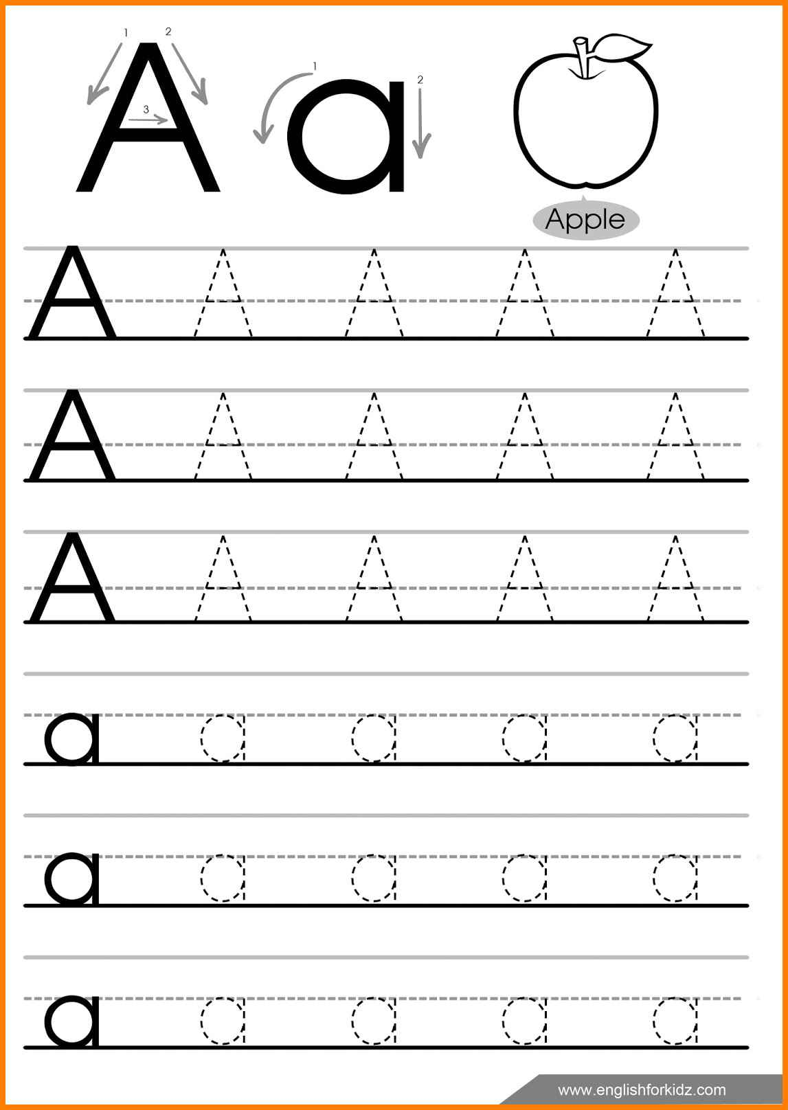 7 Letter Tracing Worksheets