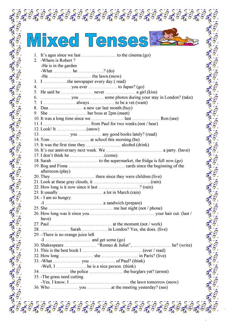 82 Free Esl Mixed Tenses Worksheets