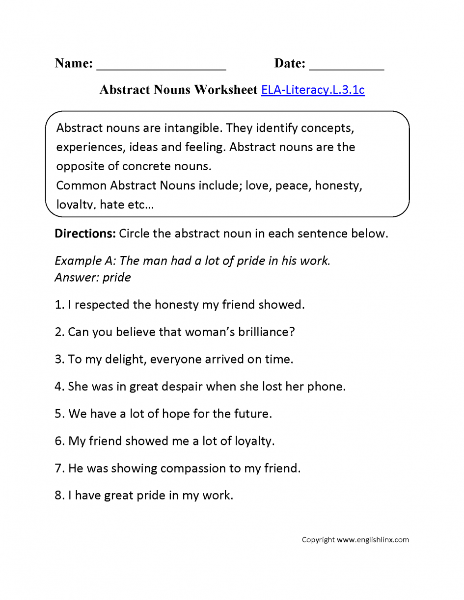 Abstract Noun Worksheets