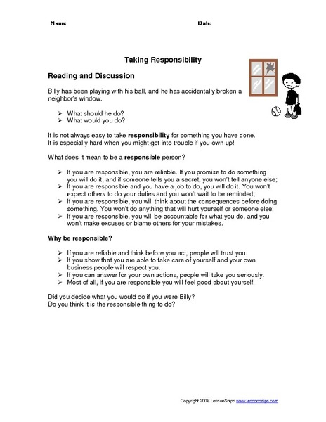 Accepting Responsibility Worksheet The Best Worksheets Image