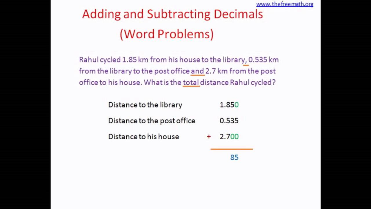 Adding Subtracting Decimals Word Problems Youtube And Worksheets