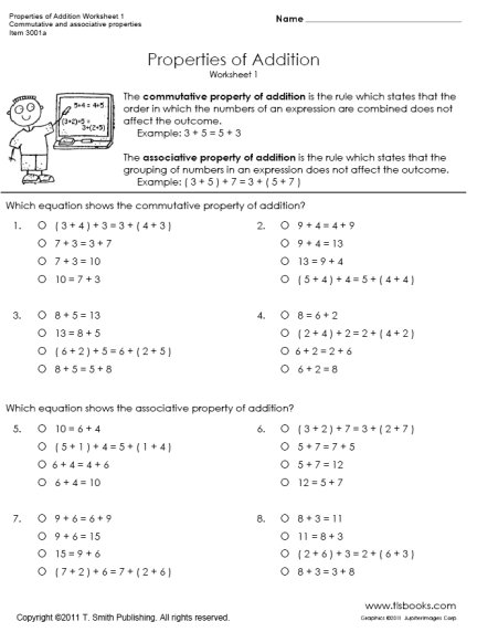 Addition Property Worksheets 3rd The Best Worksheets Image
