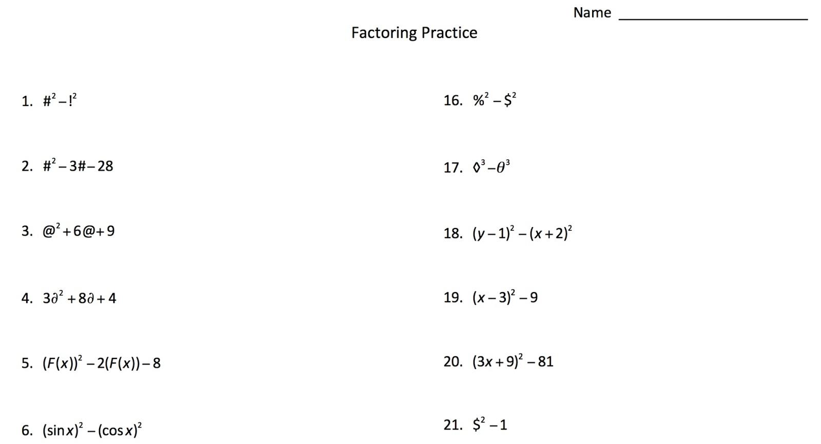 Algebra 2 Factoring Worksheet Worksheets For All