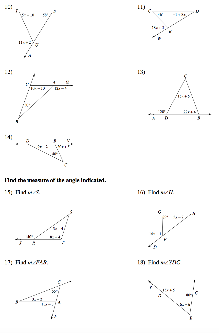 Angle Theorems Worksheet Worksheets For All