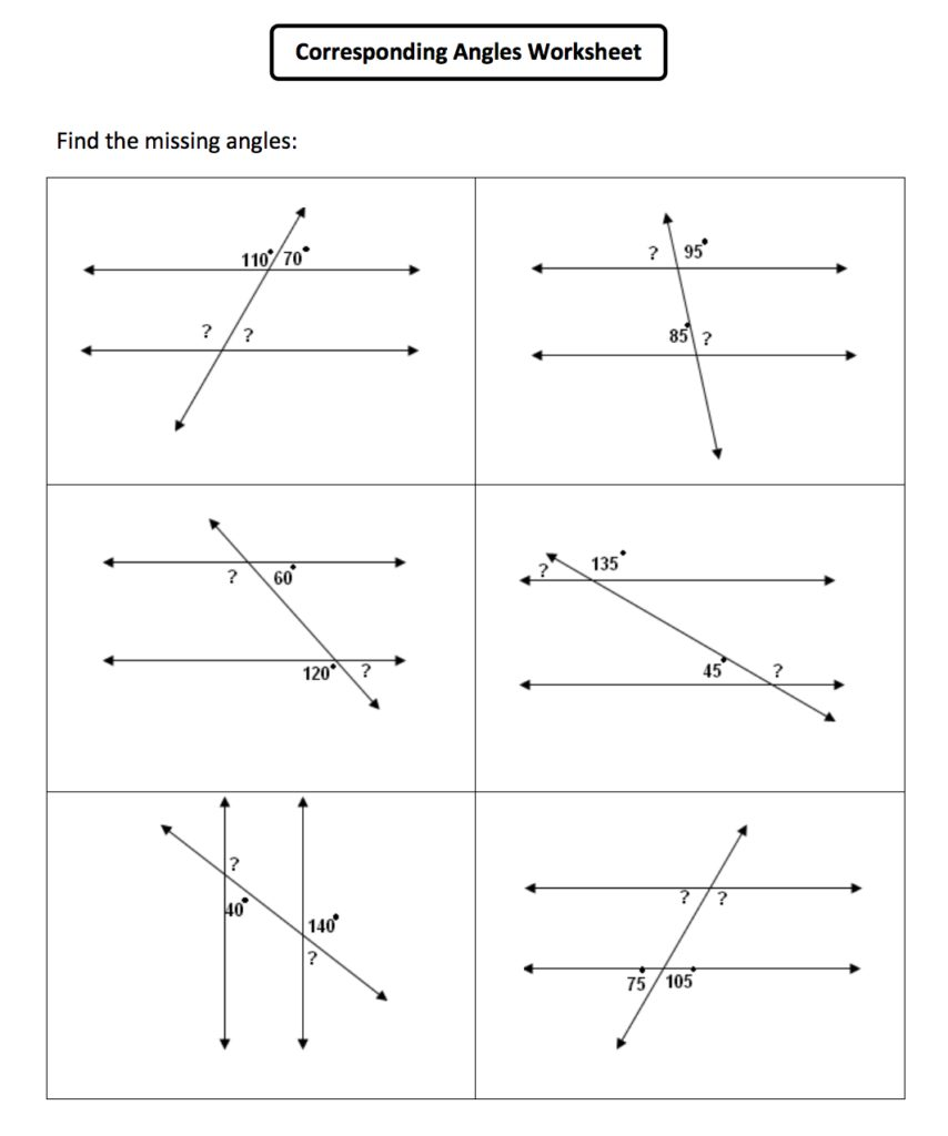 Angles In Parallel Lines Worksheet Worksheets For All