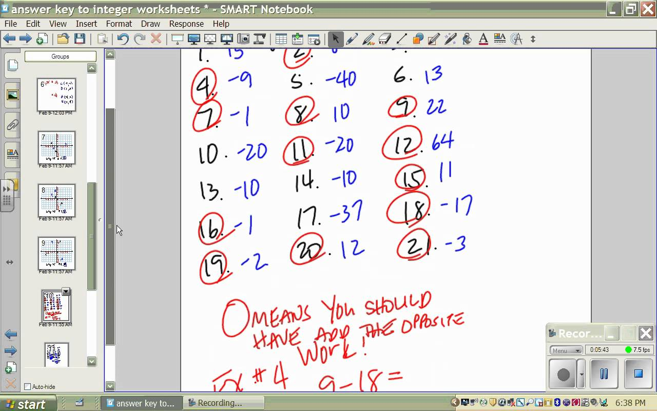Answer Key To Integer Worksheets Wmv Youtube Math For Grade 7 With