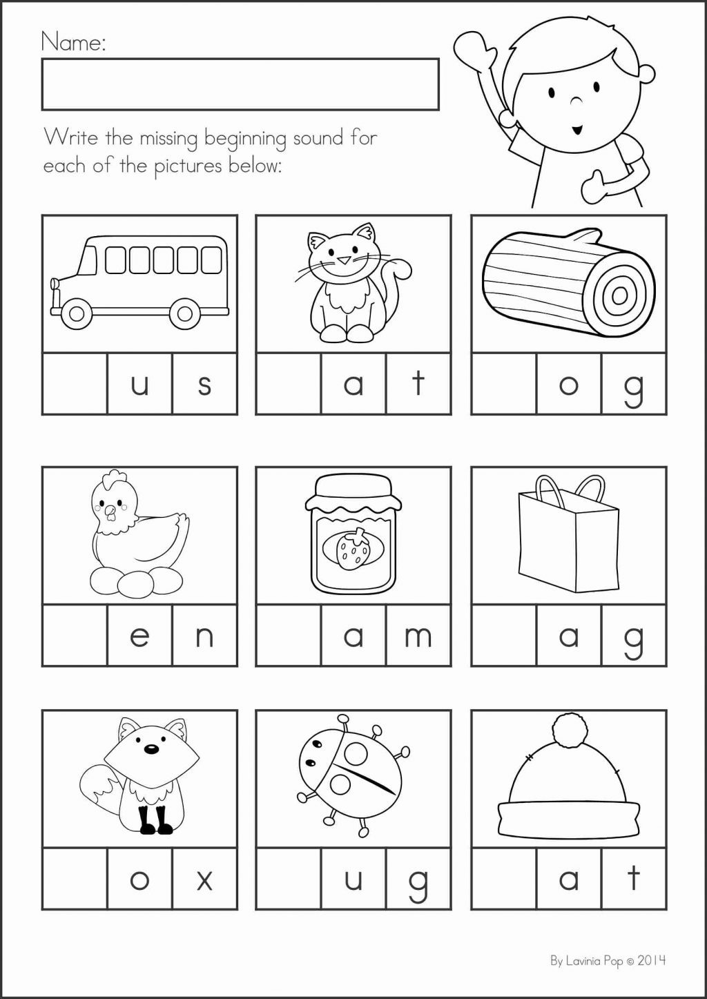Beginning And Ending Sounds Worksheets Forergarten Answers Vowel