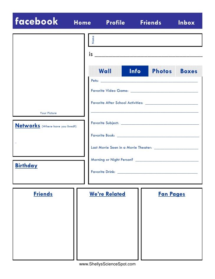 Blank Facebook Profile Template Worksheet
