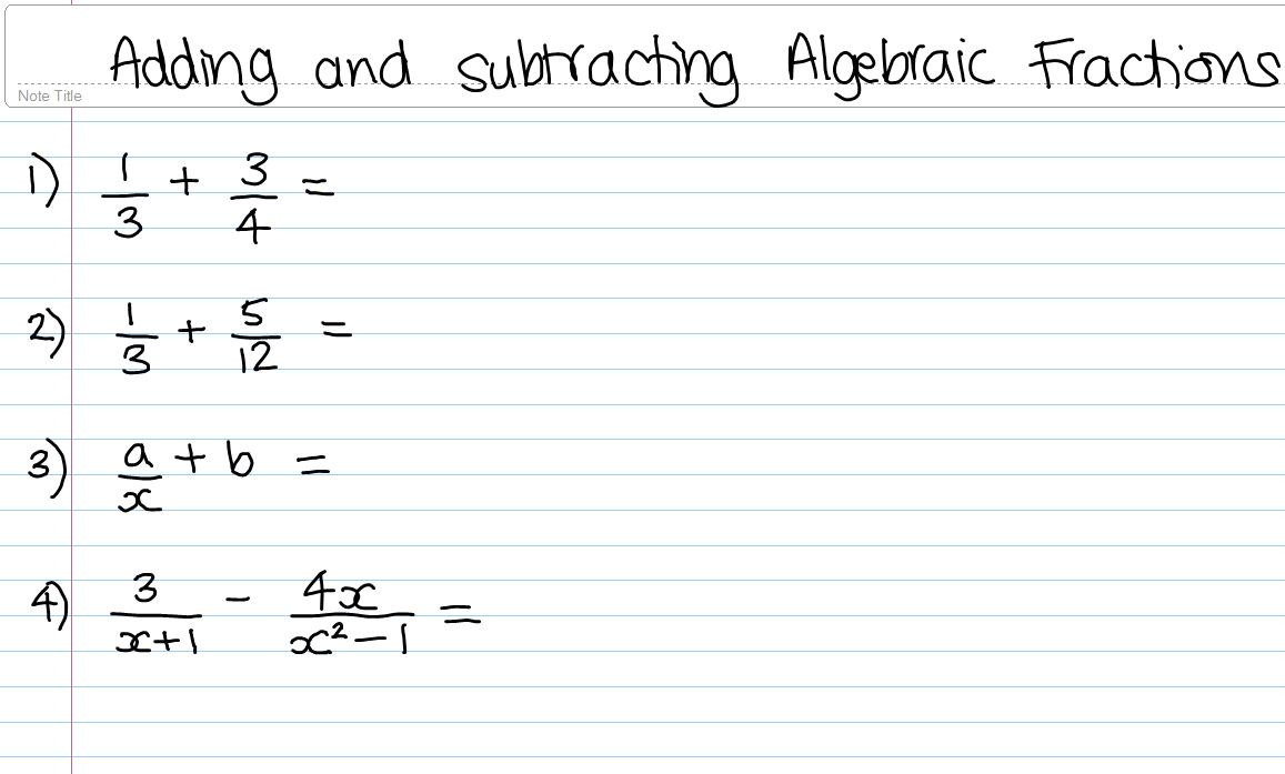 C3 Algebraic Fractions