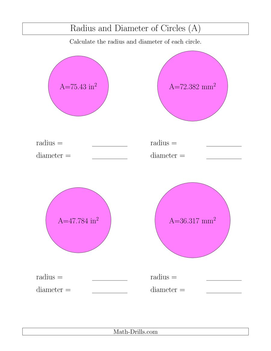 Calculate Radius And Diameter Of Circles From Area (a)