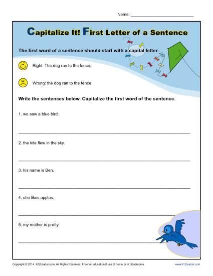 Capitalization Sentences Worksheets The Best Worksheets Image