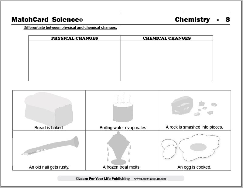 Chemical And Physical Changes Worksheet Middle School Worksheets