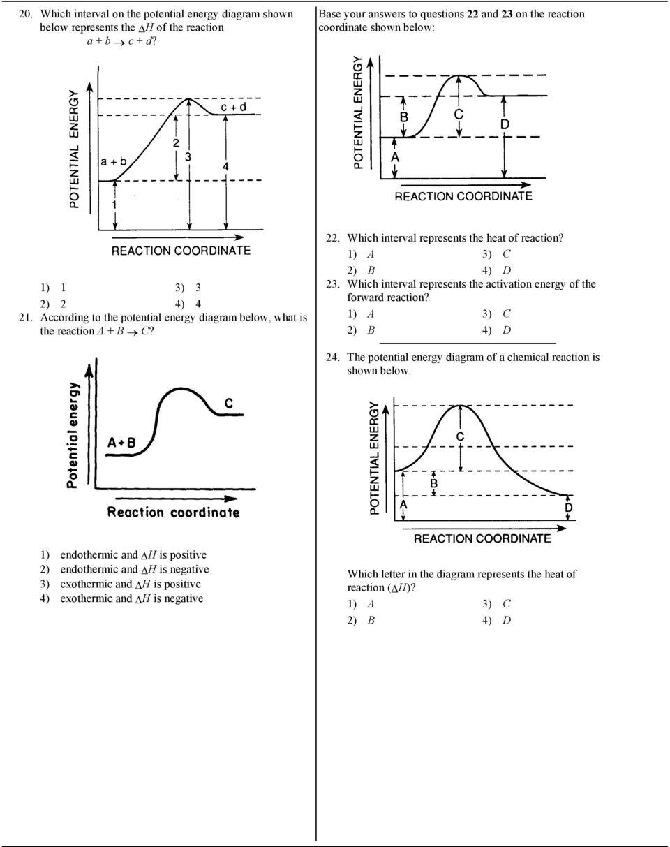 Chemistry 12 Worksheet 1 2 Potential Energy Diagrams