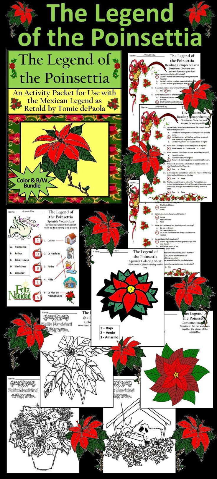 Christmas Activities  The Legend Of The Poinsettia Christmas