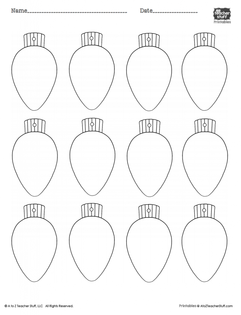 Christmas Lights Printablecoloring Page, Worksheet Or Pattern