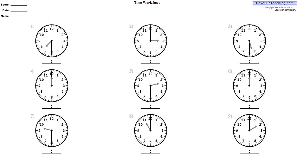 Clock Worksheets For 2nd Grade Worksheets For All