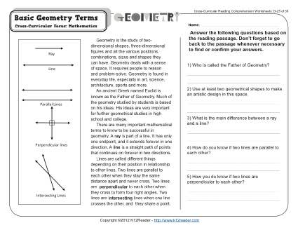 Collection Of Geometry Vocabulary Worksheet Matching