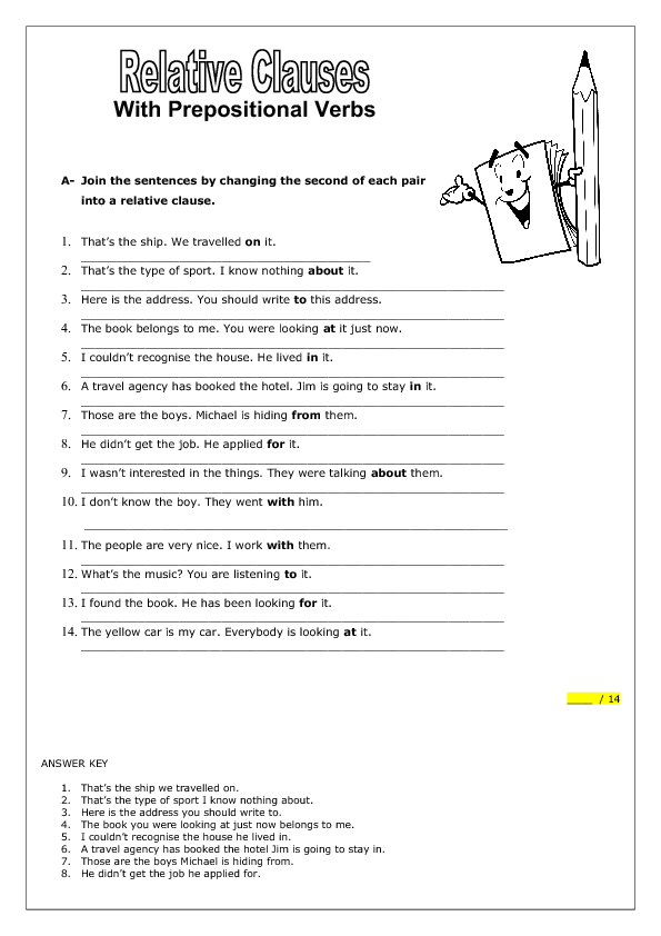 Collection Of Solutions Relative Clauses Worksheets With Answers