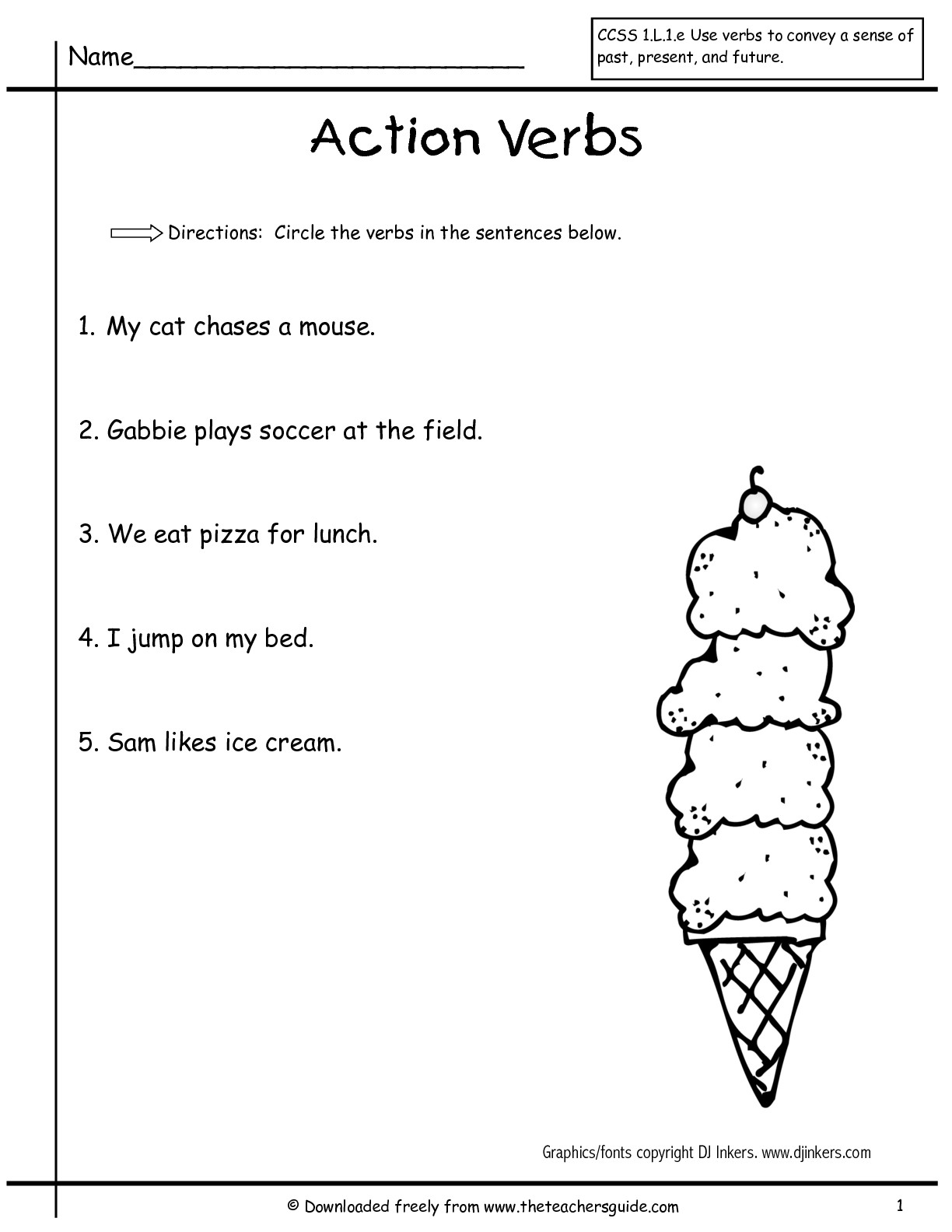 Collection Of Verbs Worksheet For Year 1