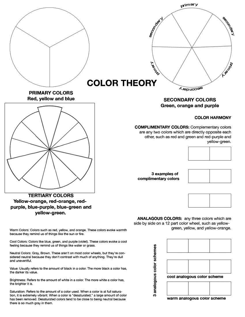 Color Theory Worksheet I've Found My Middle School Students