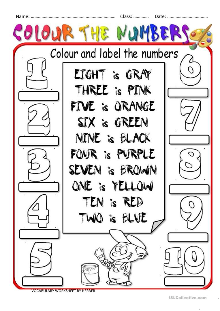 Colour The Numbers Worksheet
