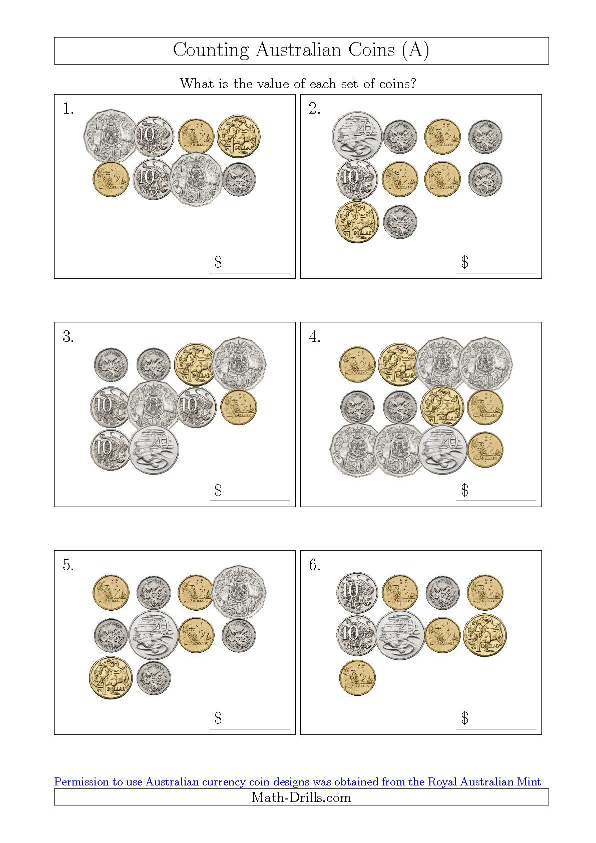 Counting Australian Coins A Maths Money Worksheets Rupees