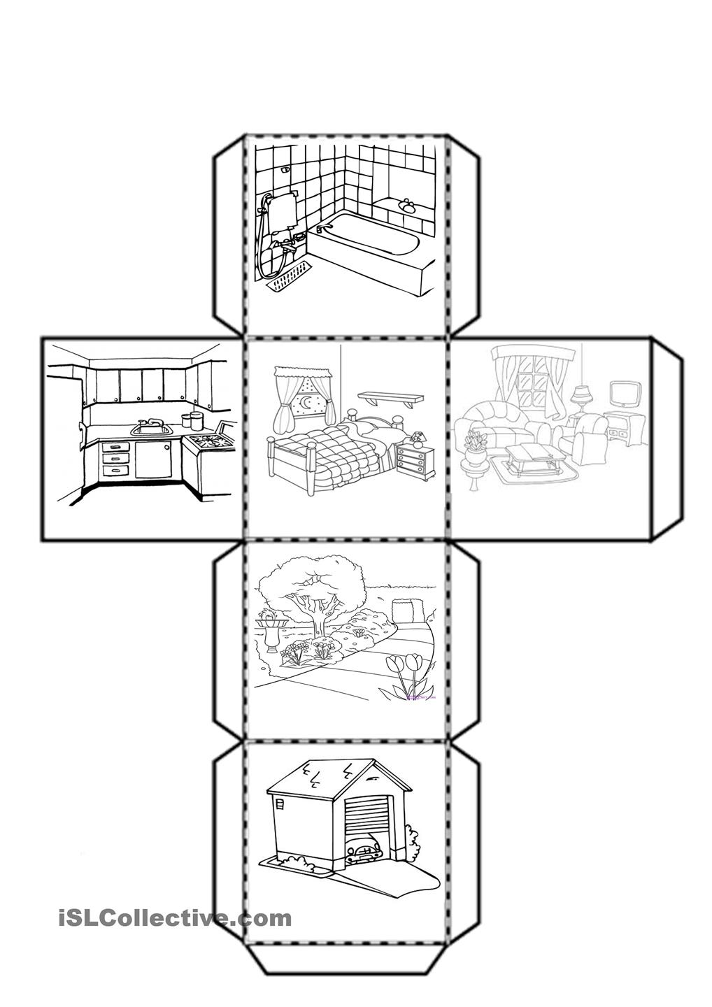 Cube With The Parts Of House Worksheet Free Esl Printable